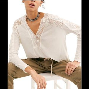 Free People Lola Lace Trim Long-Sleeve Ivory Top